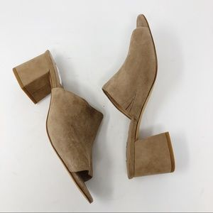 """HALOGEN TAUPE SUEDE """"FREDA"""" MULES SZ 9.5"""